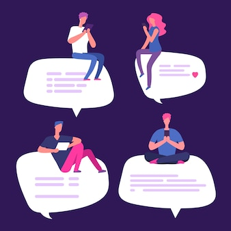 People sit on speech bubbles with smartphones vector illustration