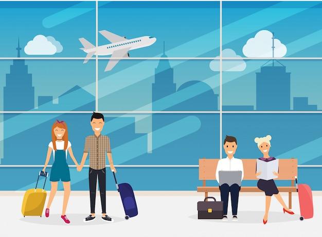 Люди сидят и гуляют в терминале аэропорта. аэропорт. путешествия и туризм. современная концепция иллюстрации.