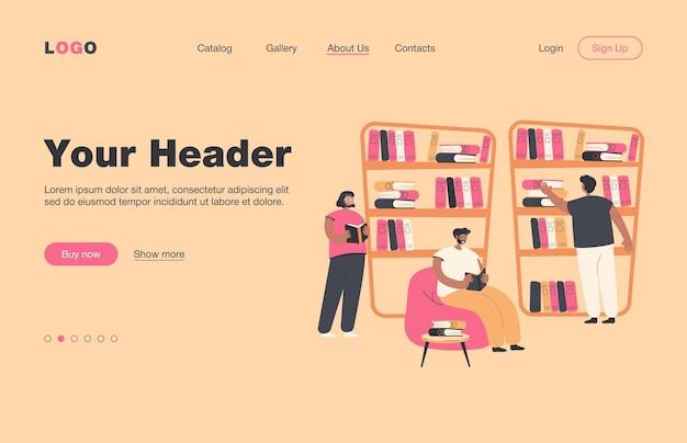 本棚に座って本屋で本を読んでいる人。図書館で勉強している学生。知識、本の虫、文学、教育の概念のランディングページ