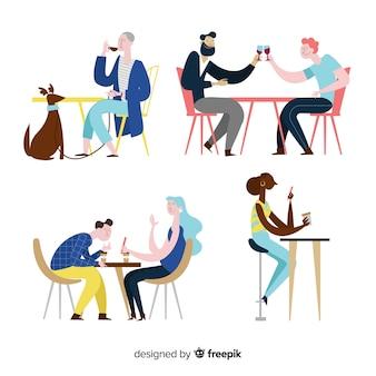 Люди сидят в кафе плоский дизайн