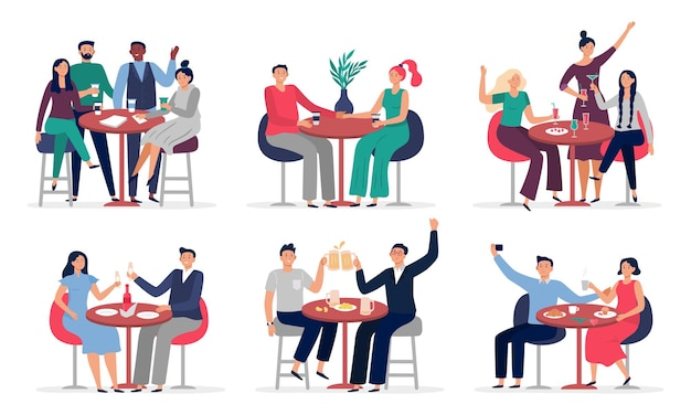 Люди сидят за столиком в кафе. влюбленные пары на свидании, кафе, встреча с друзьями, набор иллюстраций.