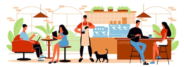 카페 인테리어의 테이블에 앉아 커피를 마시고 수평 평면 그림을 말하는 사람들