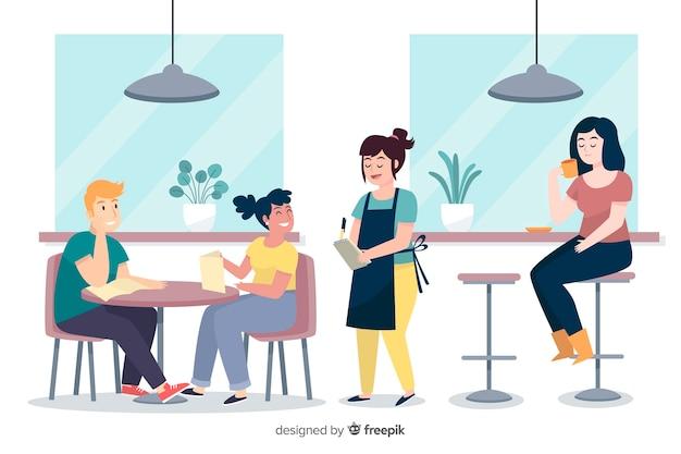 사람들이 카페에 앉아