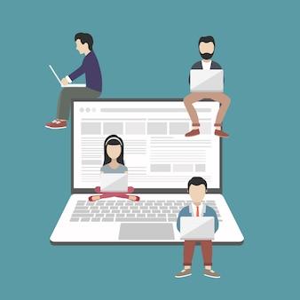 People sitting on big laptop