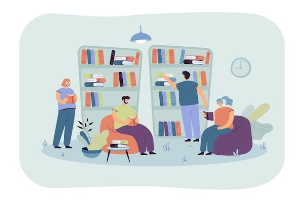 Persone sedute agli scaffali e leggere libri in libreria. studenti che studiano in biblioteca