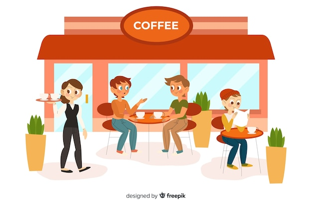 People sitting at the cafe