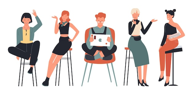 People sitting on chairs illustration set