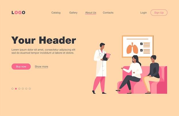 병원 복도에 앉아 의사를 기다리는 사람들. 환자, 클리닉, 평면 방문 페이지를 방문하십시오. 배너, 웹 사이트 디자인 또는 방문 웹 페이지에 대한 의학 및 건강 관리 개념