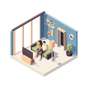 居間のインテリアのソファに座っている人