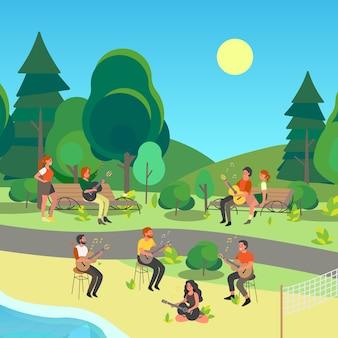 공원에 앉아 어쿠스틱 기타를 연주하는 사람들. 음악 악기와 성인 캐릭터. 젊은 연주자, 록 뮤지션.