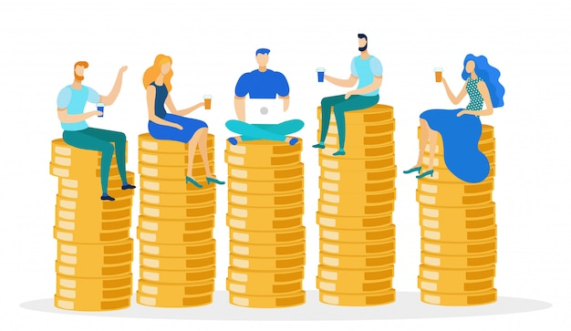 People sitting on money pile with coffee, laptop.