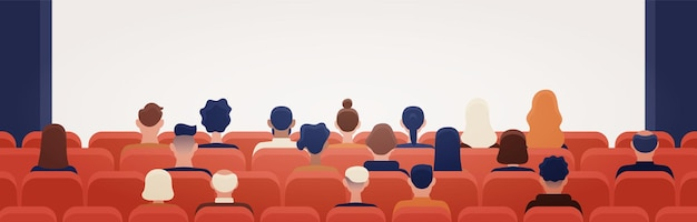 People sitting in movie theater or cinema hall and looking at projection screen. man and women watching film or motion picture