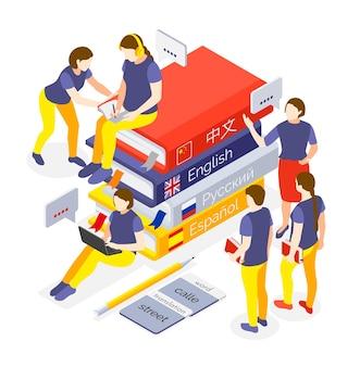 Люди сидят на стопке книг и изучают языковые курсы в изометрической проекции