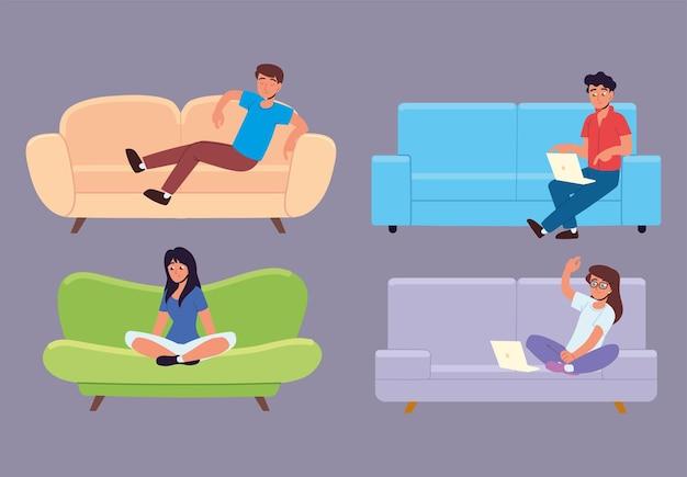 Люди сидят на диване