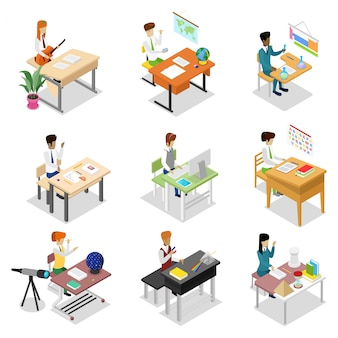 People sitting at table isometric 3d set