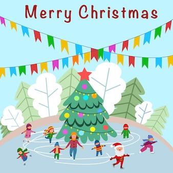 大晦日の午後、人々はクリスマスツリーの周りでスケートをします