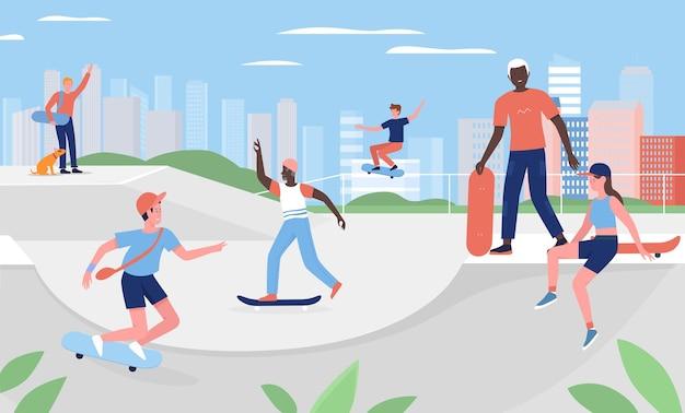 都市の都市公園でスケートボードをする人々は、楽しいエクストリームスポーツのアウトドアアクティビティを練習します