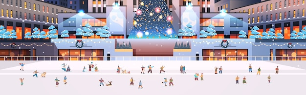 People skating on ice rink on central city square new year christmas winter holidays celebration concept cityscape background horizontal  illustration