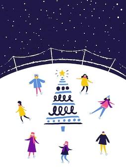 装飾されたクリスマスツリーの近くで夕方にアイススケートリンクでスケートをする人々。冬のシーン、フラットなイラスト。