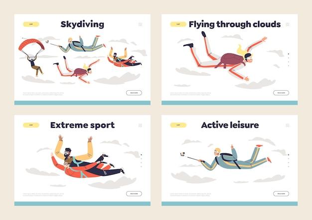 Люди прыгают с парашютом с набором целевых страниц шаблона парашютов. плоская иллюстрация шаржа