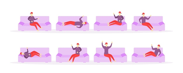 사람들은 집안의 여러 장소에서 잠을 잔다.