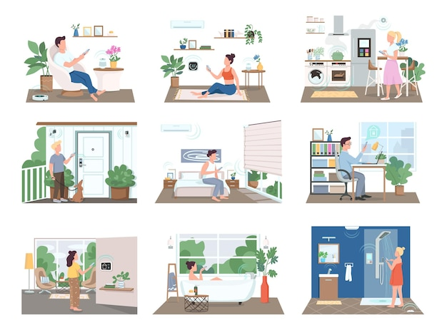 People in smart homes flat color faceless characters set