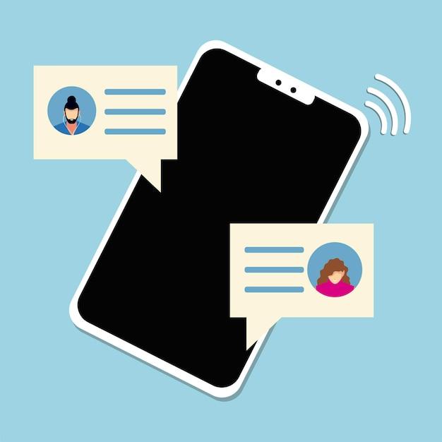 인터넷 일러스트로 연결된 사람들이 스마트 폰 채팅 거품