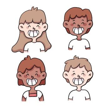 Люди улыбаются набор милый мультфильм иллюстрации
