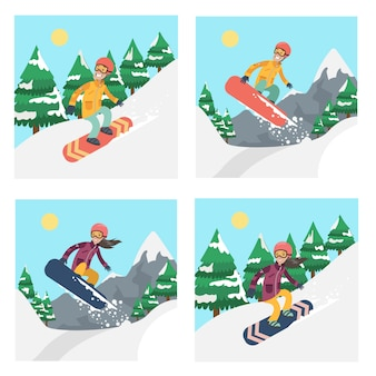 People on snowboard set. winter extreme sport activities.
