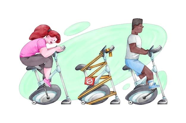 체육관에서 사회적 거리를 두는 사람들