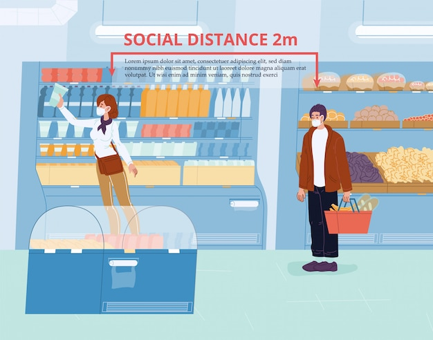 People social distancing during shopping at shop