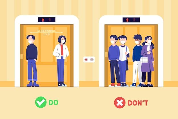 엘리베이터 일러스트레이션에서 사회적 거리를 두는 사람들