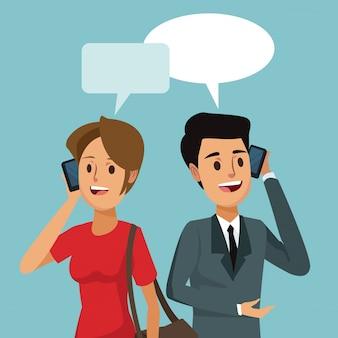 대화 상자와 사람들이 소셜 네트워크 통신