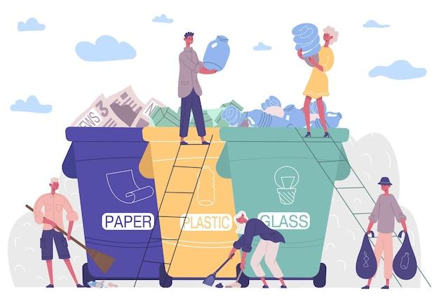 사람들이 쓰레기를 분류하고 플라스틱 솔루션으로부터 환경을 보호합니다. 수집, 분류, 재활용 쓰레기 활동가 벡터 삽화. 캐릭터는 환경을 깨끗하게 유지하고 쓰레기를 수집합니다.