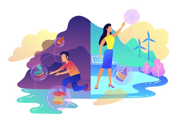 People sorting garbage trying to reach zero waste illustration