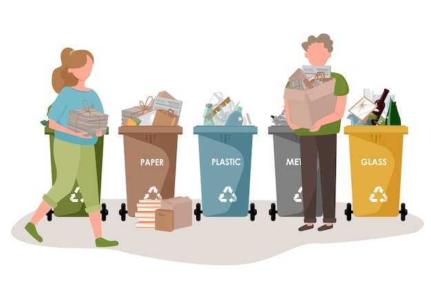 People sorting the garbage.