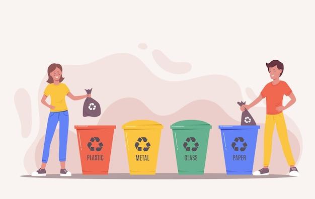 쓰레기를 분류하는 사람들. 환경을 생각하고 재활용 및 재사용을 위해 쓰레기통, 쓰레기 수거통 또는 용기에 쓰레기를 넣는 행복한 남녀 캐릭터. 제로 웨이스트 개념