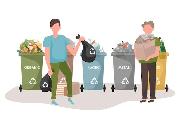 사람들은 쓰레기를 분류합니다.