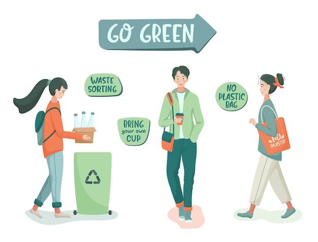 Люди сортируют мусор и используют эко-мешок и многоразовую чашку