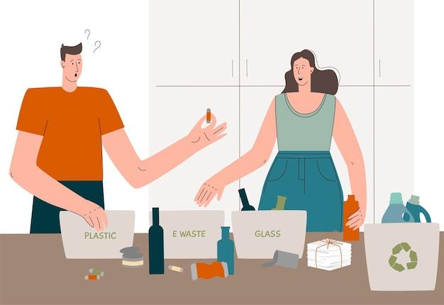 쓰레기를 분류하는 사람들 쓰레기를 범주로 분류하는 사람들 제로 폐기물 및 지구 보호의 개념