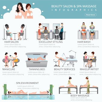 People in spa beauty salon and various beauty procedures