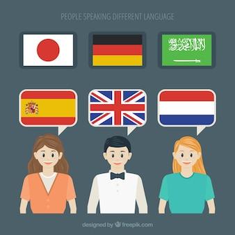 평면 디자인으로 다른 언어를 사용하는 사람들