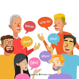 People speaking different languages with flat design