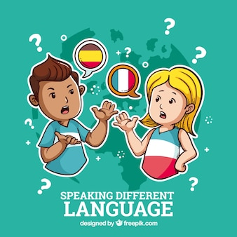 People speaking in different languages