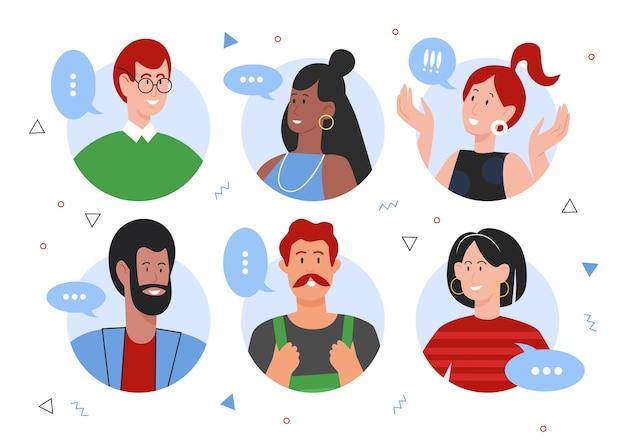 Люди говорят плоские векторные иллюстрации, мультяшный круговой портрет разных счастливых персонажей говорят и общаются в онлайн-разговоре, изолированном на белом