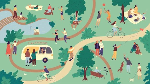 사람들은 주말에 여름 공원에서 자유 시간을 보냅니다.