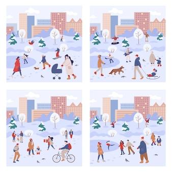 人々は冬に屋外で時間を過ごします。冬のアクティビティを行う暖かい服を着た人々。家族で街の冬のアクティビティ。イラストのセット