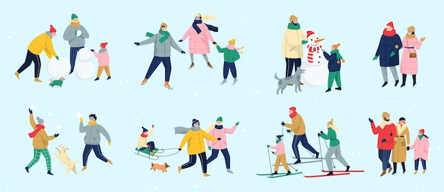 人々は冬に屋外で時間を過ごします。冬のアクティビティを行う暖かい服を着た人々。家族で冬のアクティビティ。寒い季節、アイススケート場でスケートをしたり、雪だるまを作ったり、スキーをしたりします。図