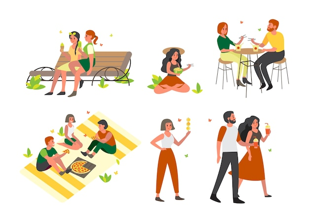 People spend time outdoor and eating street fast food set. summer time meal. ice cream and smoothie.    illustration