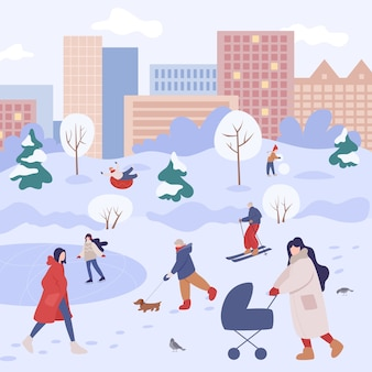 People spend time outdoor at winter. people in warm clothes doing winter activities. city winter activity with family.  illustration